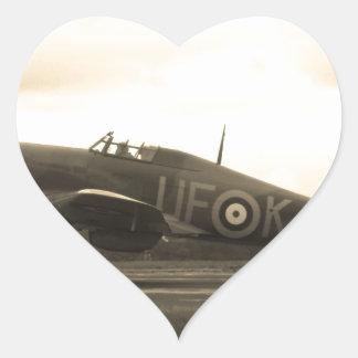 Sepiatone Hawker Hurricane Heart Sticker