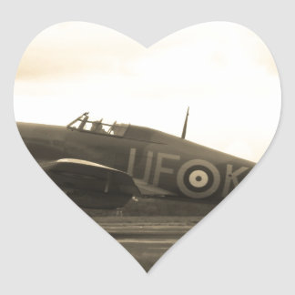 Sepiatone Hawker Hurricane Heart Sticker
