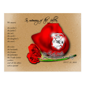 September 11 9/11 Commemorative Memorial Postcard