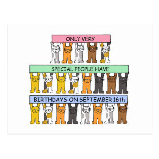 September 16th Birthday Cats Postcard