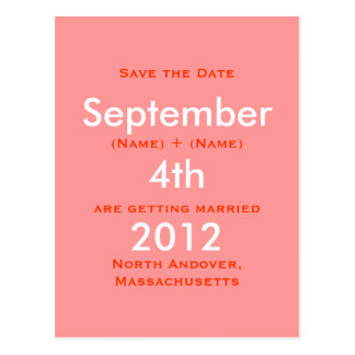 September, 2011, 4th, Save the Date, Katie   Ro... Postcard