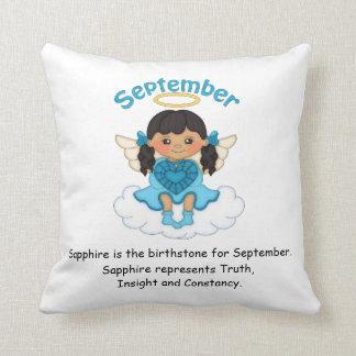 September Birthstone Angel Black Throw Cushions