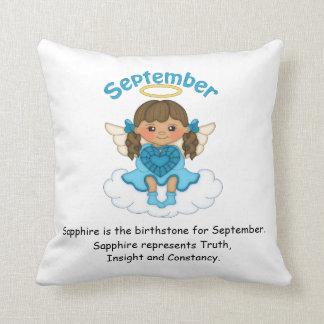 September Birthstone Angel Brunette Throw Pillows