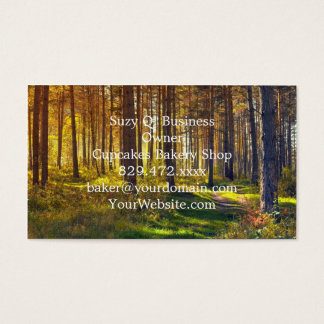 September in the forest.Sunrise in autumn forest Business Card