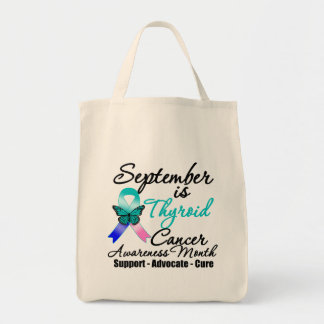 September Thyroid Cancer AWARENESS Month Grocery Tote Bag