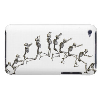 Sequence illustrating a human skeleton jumping iPod touch covers