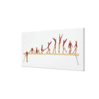 Sequence of illustrations showing female stretched canvas print