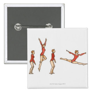 Sequence of illustrations showing female gymnast 15 cm square badge