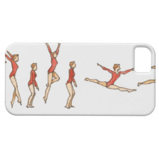 Sequence of illustrations showing female gymnast case for the iPhone 5