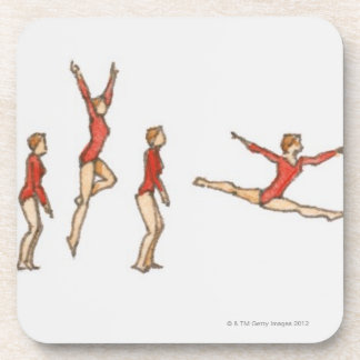 Sequence of illustrations showing female gymnast coaster