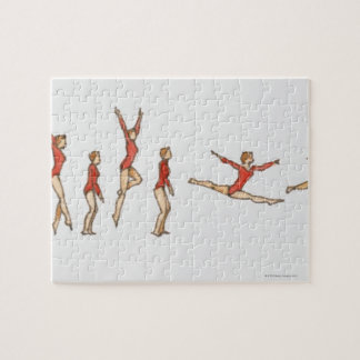Sequence of illustrations showing female gymnast jigsaw puzzle