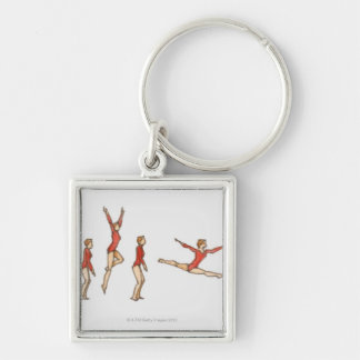Sequence of illustrations showing female gymnast key ring