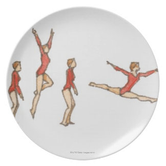 Sequence of illustrations showing female gymnast party plates