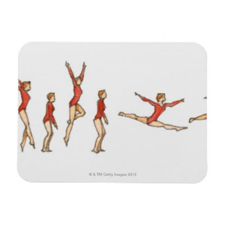 Sequence of illustrations showing female gymnast rectangular photo magnet