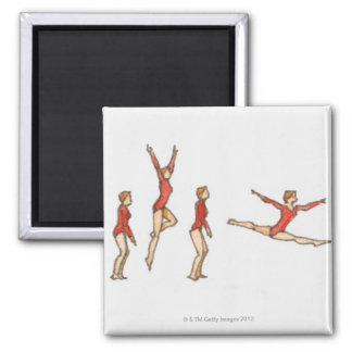 Sequence of illustrations showing female gymnast square magnet