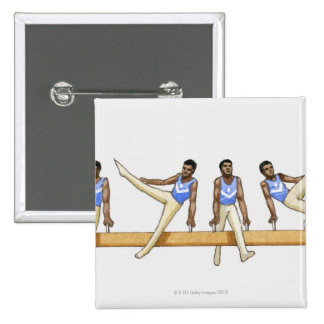 Sequence of illustrations showing male gymnast 15 cm square badge