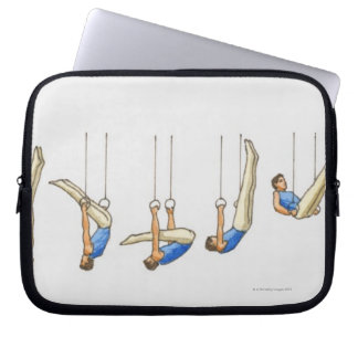 Sequence of illustrations showing male gymnast 2 laptop sleeve
