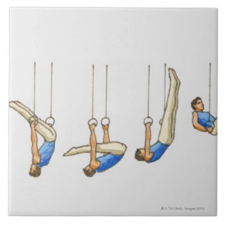 Sequence of illustrations showing male gymnast 2 large square tile