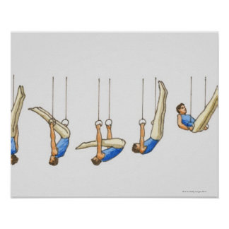 Sequence of illustrations showing male gymnast 2 poster