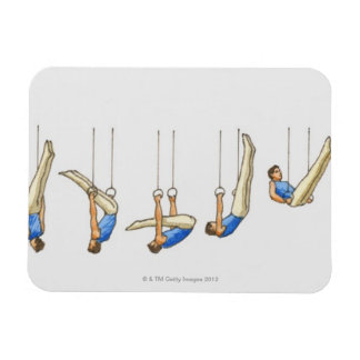 Sequence of illustrations showing male gymnast 2 rectangular photo magnet