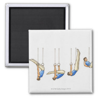 Sequence of illustrations showing male gymnast 2 square magnet