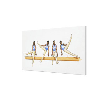 Sequence of illustrations showing male gymnast canvas print