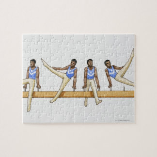 Sequence of illustrations showing male gymnast puzzles