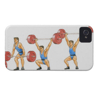 Sequence of illustrations showing man iPhone 4 Case-Mate case