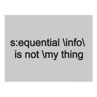 Sequential info is not my thing... (funny) postcard