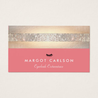 Sequin and Gold Coral Eyelash Extensions Business Card