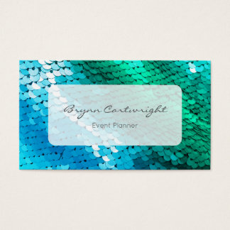 Sequin Business Card Blue Green Mermaid