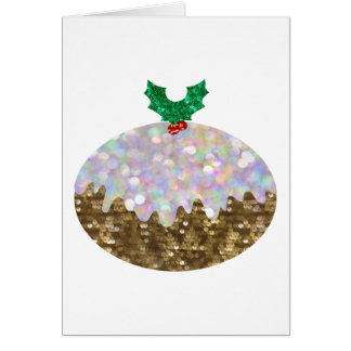 sequin christmas puddings greeting card