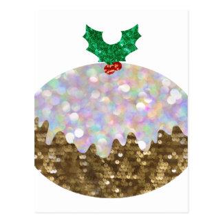 sequin christmas puddings postcard