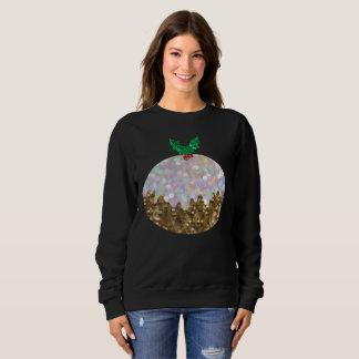 sequin christmas puddings womens sweatshirt
