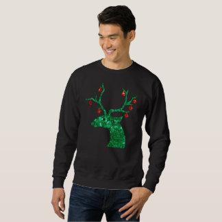 sequin christmas reindeer mens sweatshirt