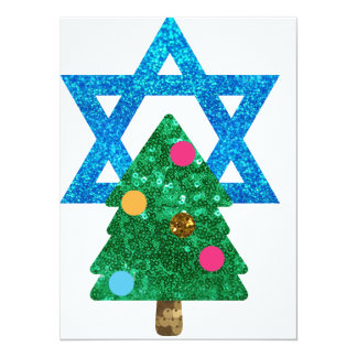 sequin christmukkah hanukkah 14 cm x 19 cm invitation card