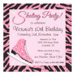 Sequin Glittering Ice Skating Party Invitations