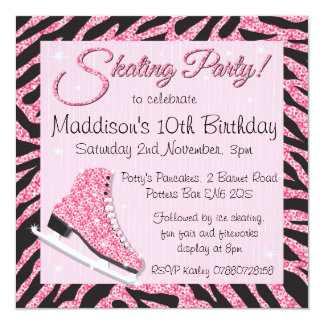 "Sequin Glittering Roller Skating Party Invitations 5.25"" Square Invitation Card"