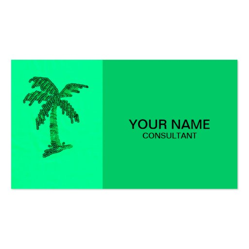 Sequin Grunge Palm Tree Image Business Card Template