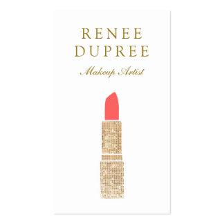 Sequin Lipstick Logo  Makeup Artist Beauty Salon 2 Double-Sided Standard Business Cards (Pack Of 100)