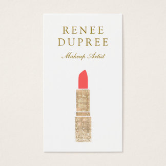 Sequin Lipstick Logo  Makeup Artist Beauty Salon 2 Business Card
