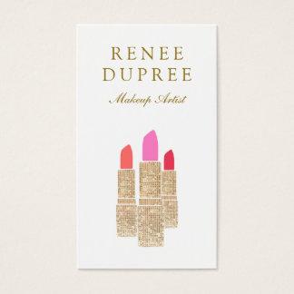 Sequin Lipstick Logo Makeup Artist Beauty Salon Business Card