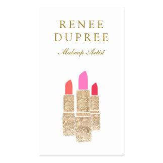 Sequin Lipstick Logo Makeup Artist Beauty Salon Pack Of Standard Business Cards