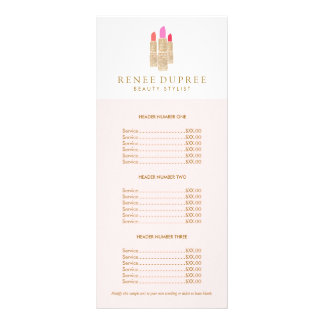 Sequin Lipstick Logo Makeup Artist Pink Price List Customized Rack Card