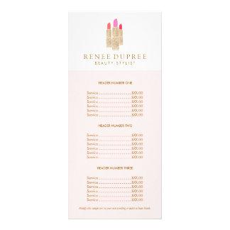 Sequin Lipstick Logo Makeup Artist Pink Price List Rack Card