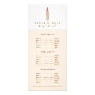 Sequin Lipstick Logo Makeup Artist Price List Rack Card