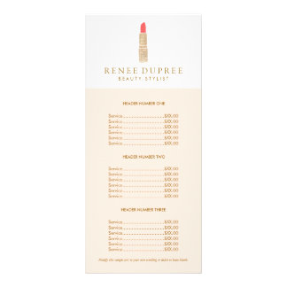 Sequin Lipstick Logo Makeup Artist Price List Rack Card Template