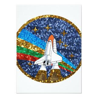 sequin space ship 14 cm x 19 cm invitation card