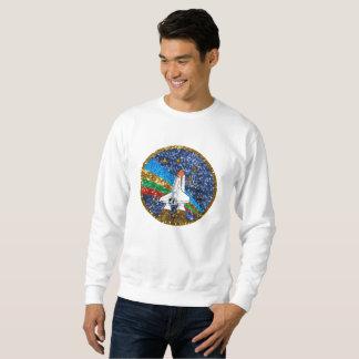 sequin space ship mens sweatshirt