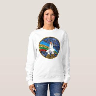 sequin space ship womens sweatshirt